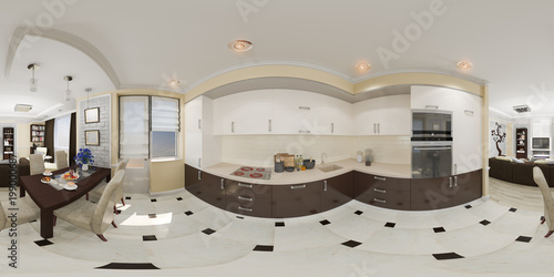 3d Illustration Spherical 360 Degrees Seamless Panorama Of