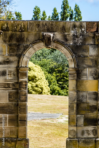 Architectural Details Of Old Buildings Green Trees In Background Ruins Of Prison Port Arthur Tasmania Australia World Heritage Site Buy This Stock Photo And Explore Similar Images At Adobe Stock