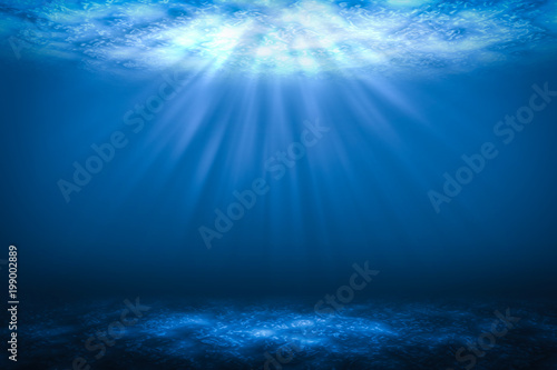 Fotografia Sunbeam Abstract underwater backgrounds in the sea.