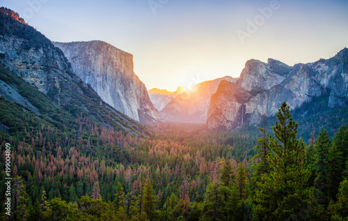 City on the water Yosemite National Park at sunrise, California, USA