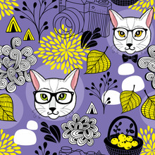 Creative Endless Background With Smart Cats And Autumn Leaves.