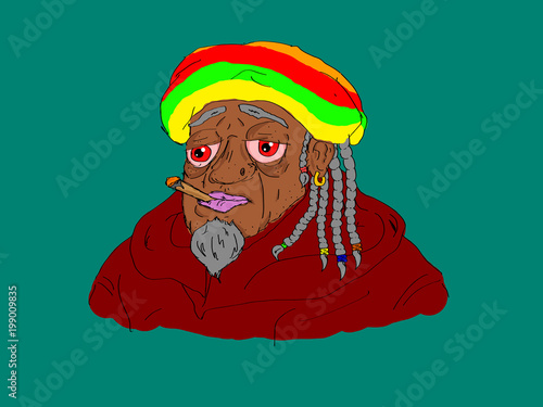 Fotografie, Obraz  Comix style smoky rastafari on blue background. Isolated.