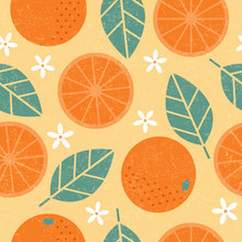 Seamless Pattern. Orange Juicy...