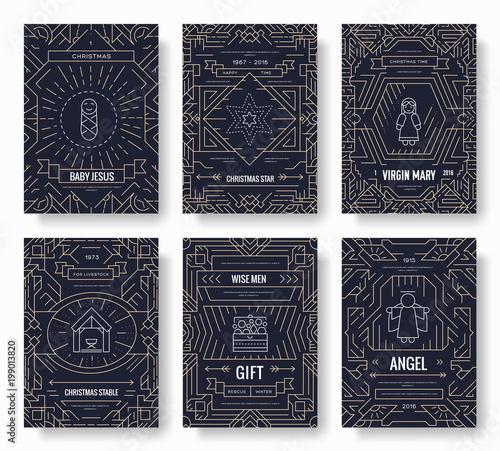 Merry Christmas thin line brochure cards set Fototapeta
