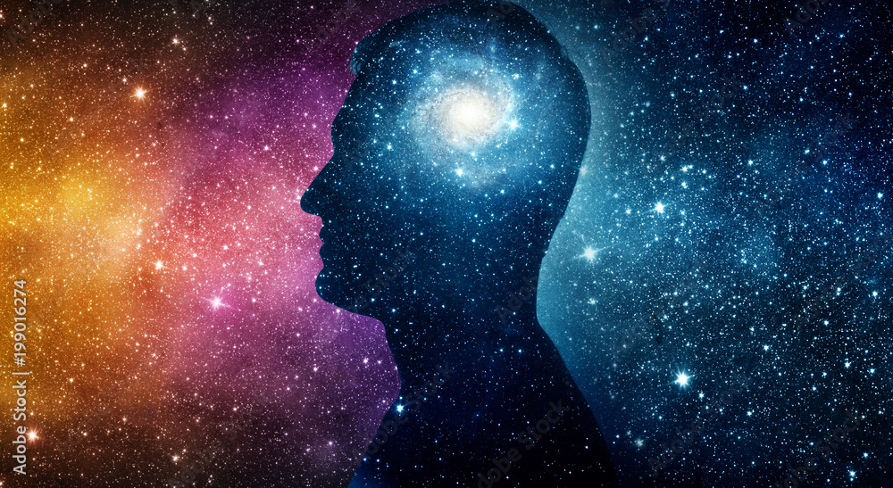 Fototapety, obrazy: The universe within. Silhouette of a man inside the universe. The concept on scientific and philosophical topics.  Elements of this image furnished by NASA.