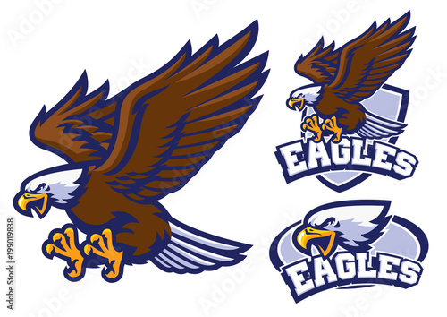 eagle character set in sport mascot style Wallpaper Mural