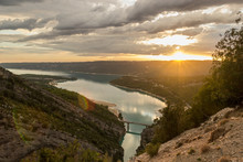Beautiful Landscape Of Calm St Croix Lake At Sunset, In The Gorges Du Verdon, Provence, France