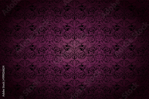 Fotografía  Royal, vintage, Gothic background in dark purple and black with classic Baroque,