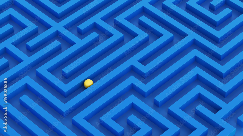 Fototapeta Labyrinth isometric view vivid colors idea blue walls and gold ball