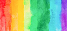Rainbow Watercolor Gradient Color Background. Hand Draw Illustration . Colored Like Red, Orange, Yellow, Green, Teal, Emerald, Turquoise, Blue, Violet