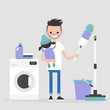 Daily routine. Modern father. Sharing the duties. Multitasking. Cleaning apartment, washing clothes and taking care of a child / flat editable vector illustration, clip art