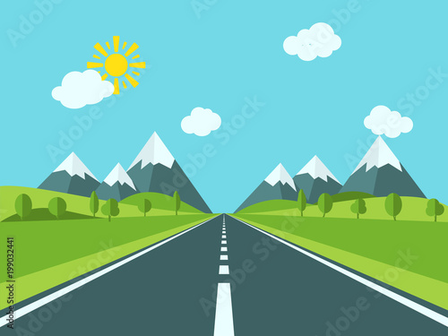 Road to mountains. Country mountain landscape with hills and trees.