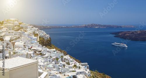 Beautiful panoramic view from touristic Fira town to caldera