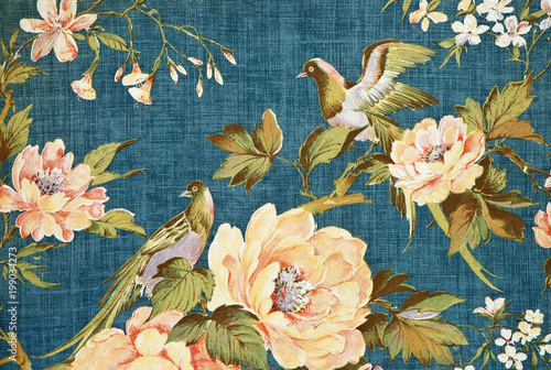 Fotografering Pattern of an ornate floral tapestry