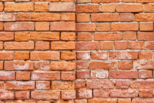 Old Split-level Red Brick Wall