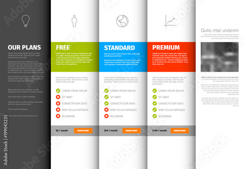 Product / service pricing comparison table template - Buy this stock ...