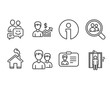 Set of Couple, Communication and Identification card icons. Business growth, Search employees and Elevator signs. Two male users, Business messages, Person document. Vector
