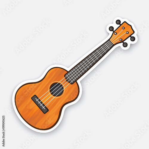 Sticker of small classical wooden guitar Canvas Print