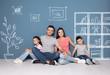 Leinwandbild Motiv Happy family sitting on floor at new home