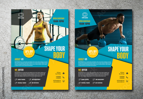 2 gym flyer layouts with blue and yellow accents buy this stock