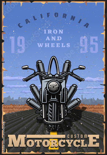 Vintage style motorcycle poster Poster