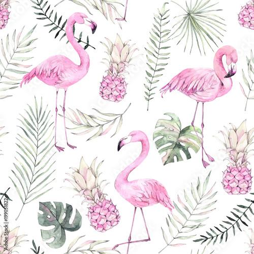 recznie-rysowane-akwarela-bezszwowe-wzor-tlo-z-rozowym-flamingiem-ananasem-i-tropikalnymi-liscmi-idealny-na-papier-do-pakowania