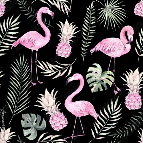 recznie-rysowane-akwarela-bezszwowe-wzor-tlo-z-rozowym-flamingiem-ananasem-i-tropikalnymi-liscmi-idealny-do-pakowania-papieru-tkanin