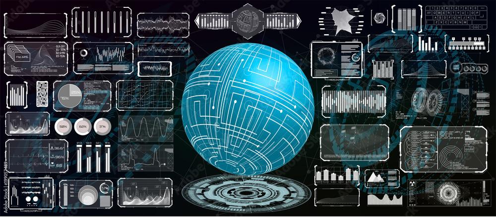 Fototapeta Futuristic interface hud design for business app. Abstract technology, concept futuristic Sci-Fi user Interface for app, hologram, communication, statistic,data, infographic. Hi tech technology HUD UI