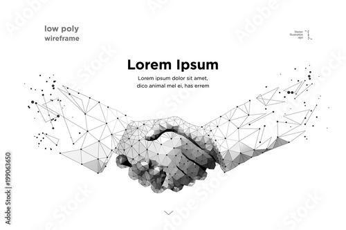 Stampa su Tela  handshake. Blockchain.  vector