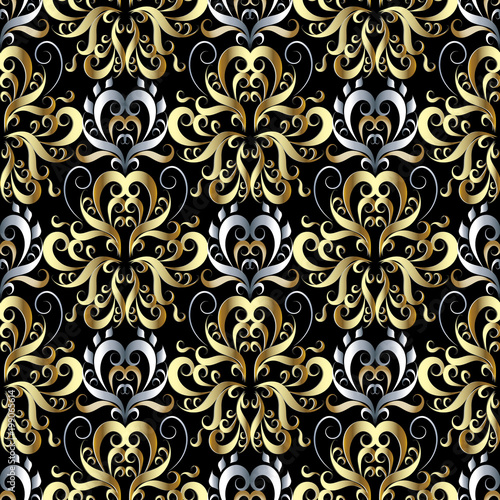 Poster Kunstmatig Gold silver 3d damask seamless pattern. Vector floral beautiful background wallpaper. Hand drawn vintage luxury damask ornament. Vintage flowers, leaves, swirl lines, curves. Design with shadows