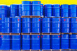canvas print picture - Barrels of 200 liters. Warehouse for barrels. Warehouse of chemical products. Storage of chemicals. Fertilizers. Chemicals.