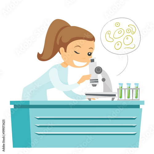 caucasian white laboratory assistant examining liquid under a microscope young laboratory assistant working in the lab with a microscope vector cartoon illustration isolated on white background buy this stock vector and microscope young laboratory assistant