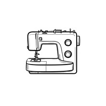 Sewing-machine Hand Drawn Outl...