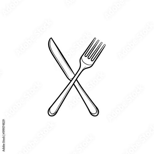 Fotografie, Obraz Fork and knife hand drawn outline doodle icon