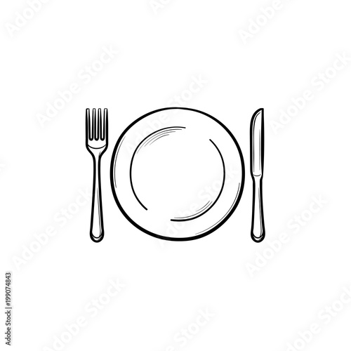 Fototapeta Plate with fork and knife hand drawn outline doodle icon