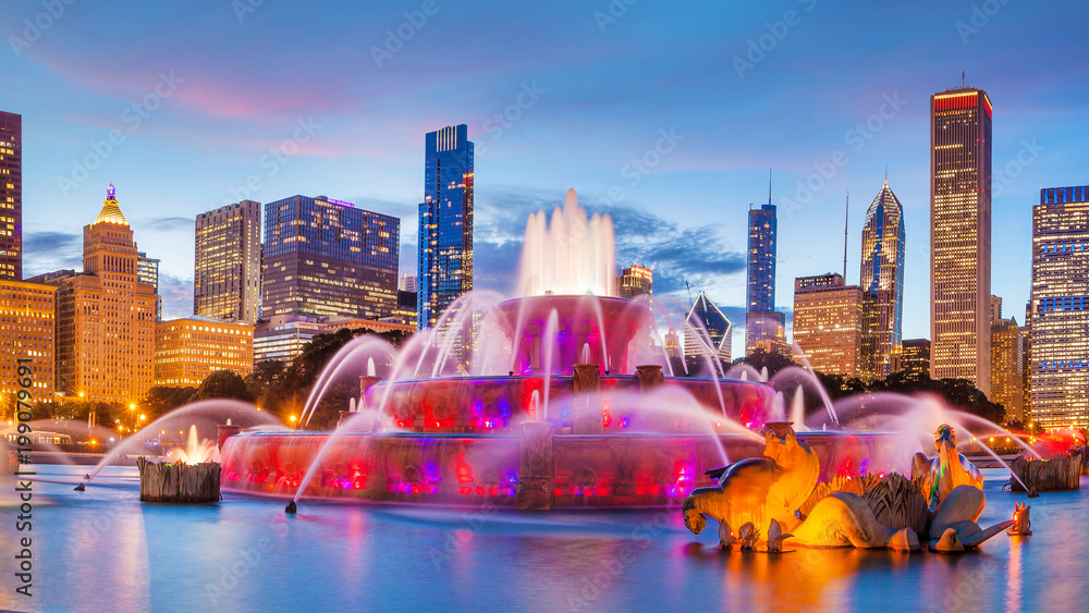 Fototapety, obrazy: Panorama of Chicago skyline  with skyscrapers and Buckingham fountain