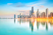canvas print picture Downtown chicago skyline at sunset Illinois