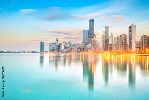 Canvas Prints American Famous Place Downtown chicago skyline at sunset Illinois