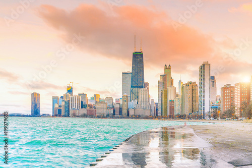 Poster Chicago Downtown chicago skyline at sunset Illinois