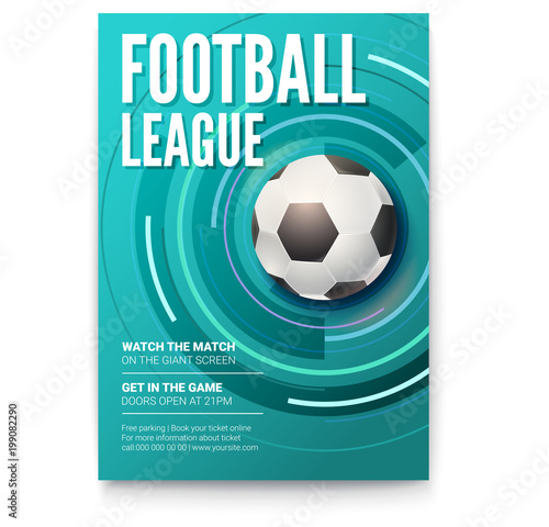 Poster Of Tournament Football League Soccer Ball On Graphics Background Design Of Banner For Sport Events Template Of Advertising For Championship Of Football Or Soccer 3d Illustration Buy This Stock Vector