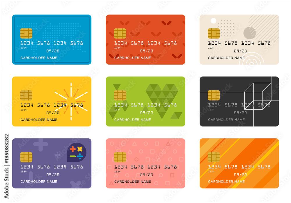 Fototapeta credit card pattern vector flat design illustration set