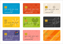 Credit Card Pattern Vector Flat Design Illustration Set