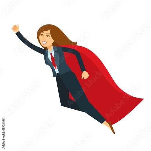 Cuadros en Lienzo Superwoman or super woman office manager flying with hand up vector cartoon char