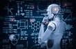 canvas print picture - robot with education hud