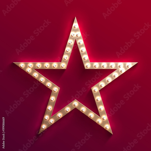 Photo  Hollywood film star with light bulb marquee
