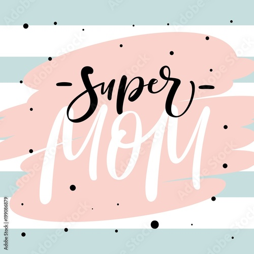 Photo Mother's Day greeting card with modern brush calligraphy