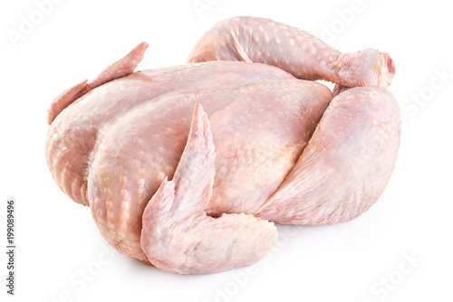 Fresh raw chicken isolated on white background.