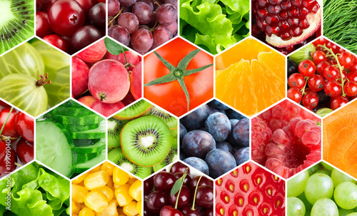 Poster Cuisine Background of fresh color food