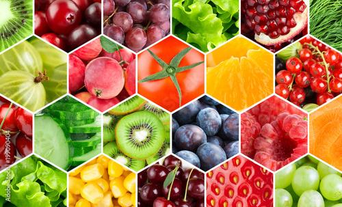 Poster Fruit Background of fresh color food