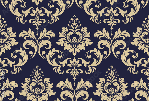 Wallpaper in the style of Baroque. A seamless vector background. Black and gold floral ornament. Graphic vector pattern